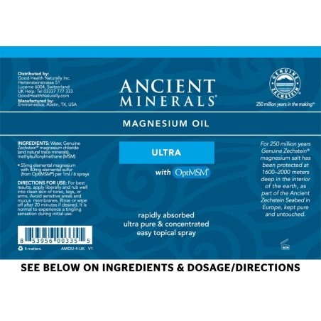 Ancient Minerals -  Professional Strength - Magnesium Oil Ultra 4oz Spray
